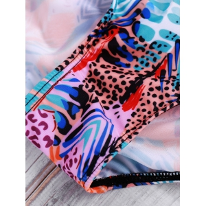 Fashionable Halter Push-Up Printed Slimming Women's Swimwear -