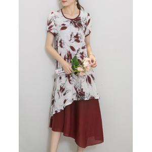 Chic Women's Wind Red Tribe Print Short Sleeve Print Dress
