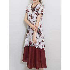 Chic Women's Wind Red Tribe Print Short Sleeve Print Dress -