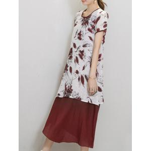 Chic Women's Wind Red Tribe Print Short Sleeve Print Dress - WINE RED M