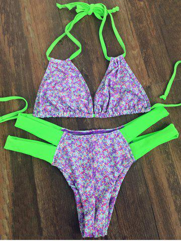 Affordable Sweet Tiny Floral Print Halter Neck Women's Bikini Set PURPLE L