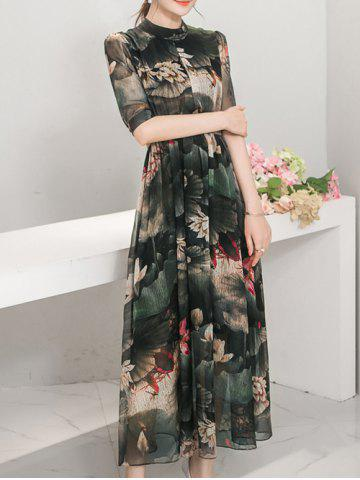 Affordable Elegant Stand Collar 1/2 Sleeve Floral Print Women's Maxi Dress