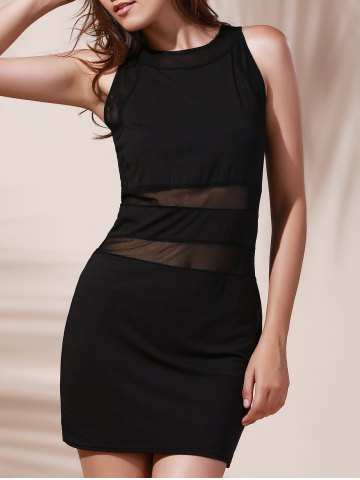 Shops Chic Round Neck See-Through Cut Out Sleeveless Women's Dress