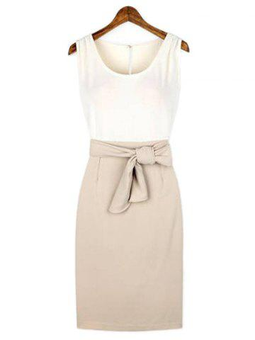 Latest Color Block Belted Sheath Dress