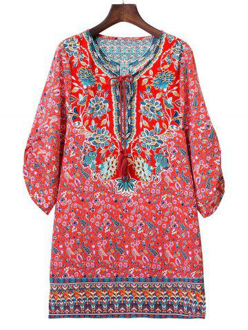 Online Ethnic Style Scoop Neck 3/4 Sleeve Floral Print Women's Mini Dress