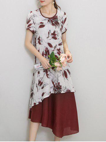 Outfit Chic Women's Wind Red Tribe Print Short Sleeve Print Dress WINE RED M