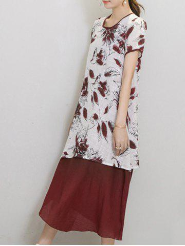 Chic Women's Wind Red Tribe Print Short Sleeve Print Dress от Rosegal.com INT