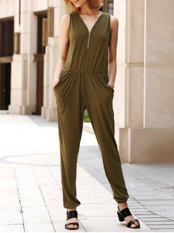 V Neck Sleeveless Pocket Design Solid Color Women s Jumpsuit