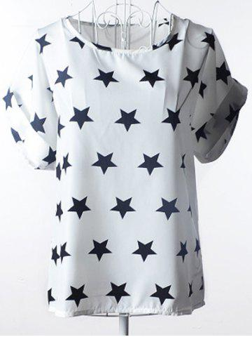 Shop Elegant Plus Size Scoop Neck Stars Pattern Blouse For Women WHITE S