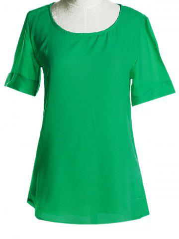 Discount Graceful Plus Size Scoop Neck Short Sleeves Blouse For Women