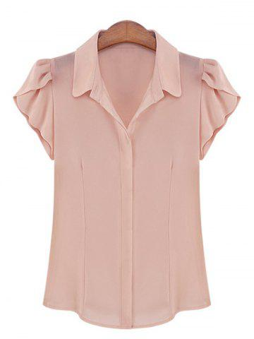Best Elegant Shirt Collar Flounce Sleeves Chiffon Shirt For Women