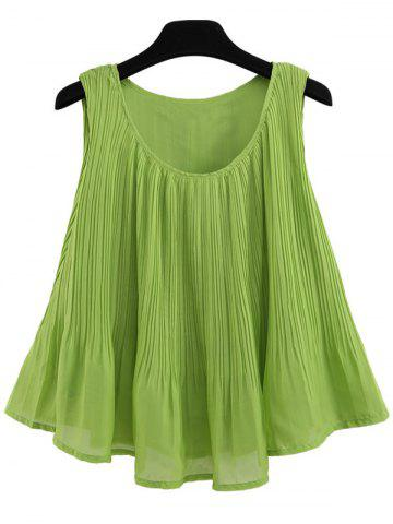 Store Pleated A Line Chiffon Tank Top GREEN XL
