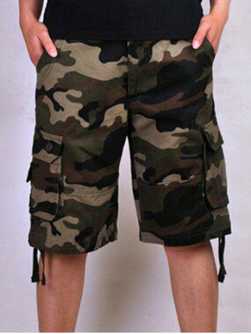 Store Zipper Fly Loose-Fitting Camo Printed Multi-Pockets Straight Leg Cargo Shorts For Men