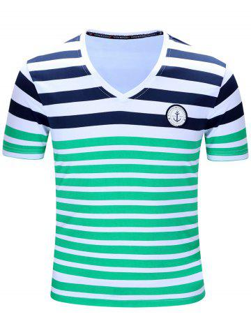 Discount Casual Short Sleeves Striped V-Neck T-Shirt For Men GREEN M