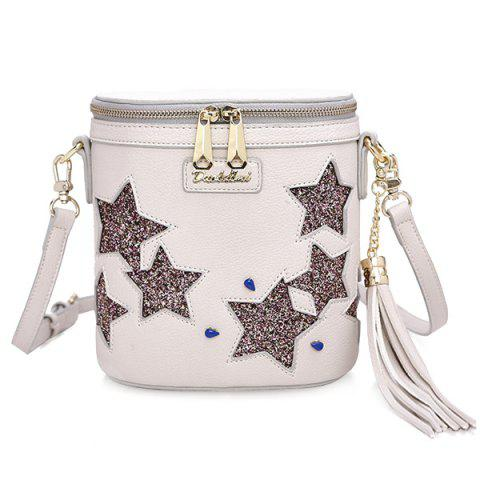 Sale Chic Sequined and Stars Design Crossbody Bag For Women - WHITE  Mobile