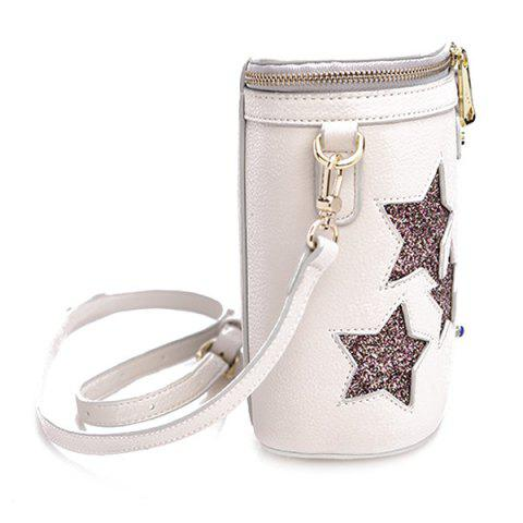 Discount Chic Sequined and Stars Design Crossbody Bag For Women - WHITE  Mobile