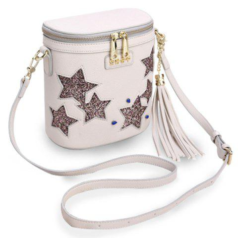 Online Chic Sequined and Stars Design Crossbody Bag For Women - WHITE  Mobile