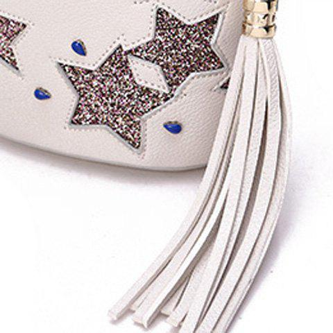 Fashion Chic Sequined and Stars Design Crossbody Bag For Women - WHITE  Mobile