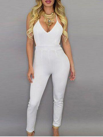 Plunging Neck Backless Jumpsuit For Women