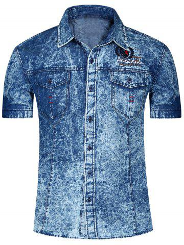 Shops Fashion Single Breasted Short Sleeves Denim Shirts For Men