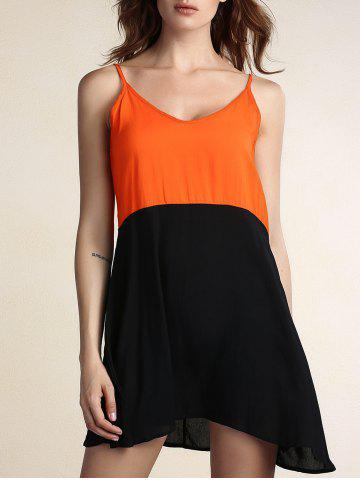 Affordable Two Tone Open Back Slip Casual Dress
