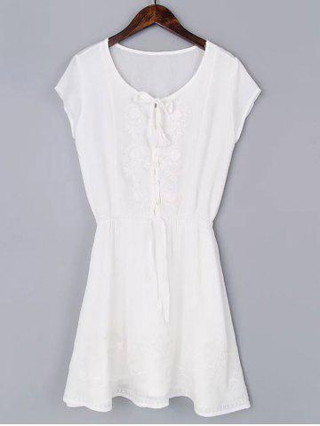 Cheap Casual Short Sleeve Drawstring Embroidered Women's Mini Dress