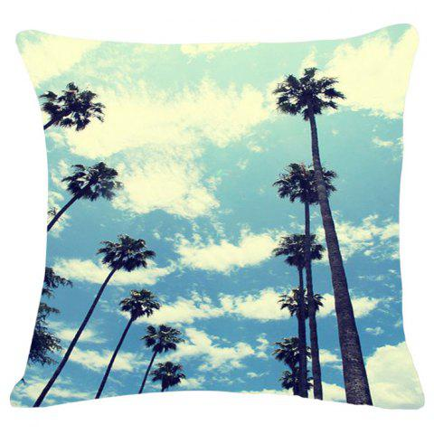 Discount Fashion Blue Sky Pattern Square Shape Flax Pillowcase (Without Pillow Inner) COLORMIX