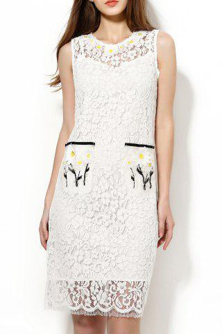 Buy Beaded Applique Lace Knee Length Dress with Tank Top