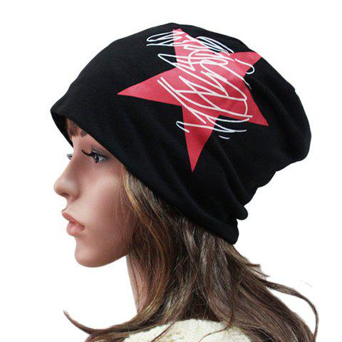 Outfit Chic Big Red Five-Pointed Star and Scrawl Pattern Beanie For Women