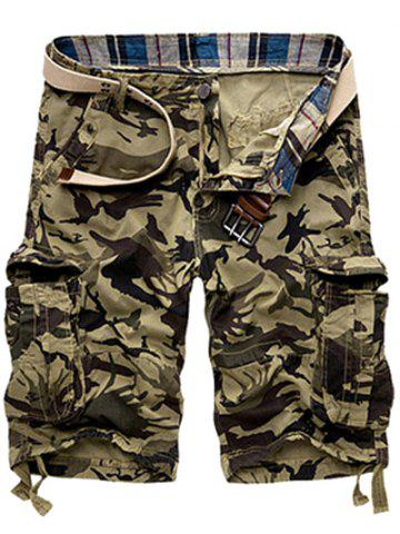 Shops Zipper Fly Loose-Fitting Camouflage Print Multi-Pockets Straight Leg Cargo Shorts For Men