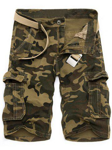 Fancy Zipper Fly Loose-Fitting Camo Print Multi-Pockets Straight Leg Cargo Shorts For Men