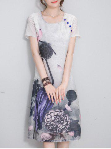 Chic Ethnic Style Scoop Neck Short Sleeve Chinese Ink Painting Women's Dress