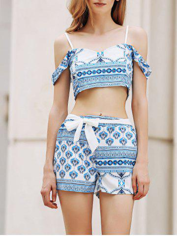 Hot Trendy Spaghetti Straps Crop Top and Printed Shorts Twinset For Women BLUE AND WHITE XL
