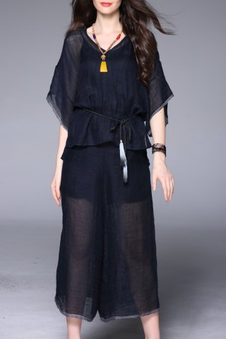 Discount Solid Color Blouse and Loose Wide Leg Pants