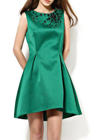 New Round Collar Beaded Asymmetrical Dress