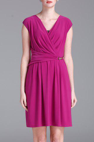 Affordable Wrapped Solid Color Dress