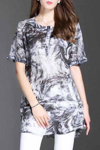 Outfits Round Neck Print Mini Dress