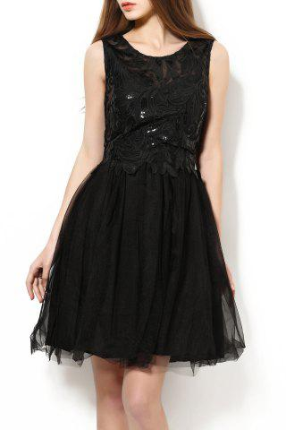 New Scoop Neck Sequined Embroidered Ball Dress