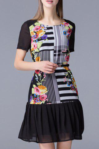 Affordable Floral and Stripe Printed Dress