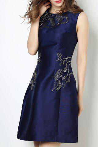 Outfit Round Collar Beaded Solid Color Dress