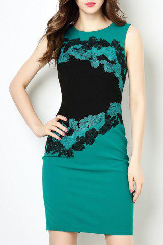 Fancy Round Collar Embroidered OL Dress