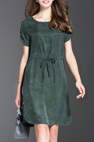 Online Short Sleeve Solid Color Drawstring Mini Dress