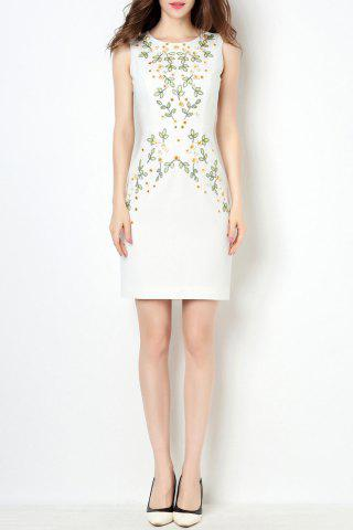 Trendy Round Collar Sequin Embroidered Bodycon Dress