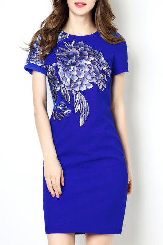 Cheap Round Collar Embroidered Bodycon Short Sleeve Dress