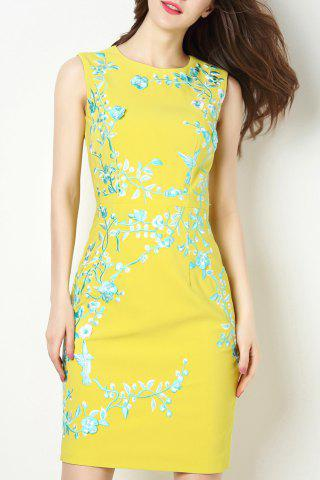 Fancy Floral Embroidered Sleeveless Sheath Dress