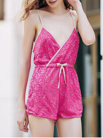 Affordable Trendy Rose Red Lace Women's Cami Playsuit