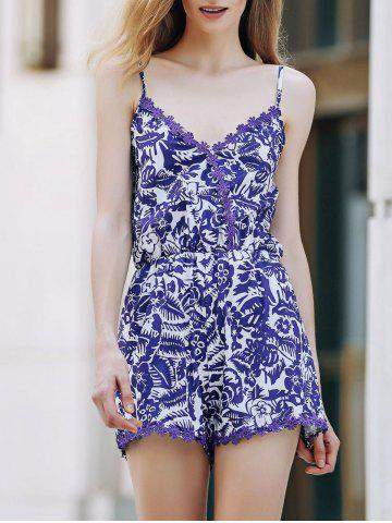 Trendy Trendy Spaghetti Strap Cashew Print Romper For Women BLUE AND WHITE S