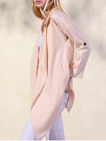 XL APRICOT Lapel Collar Solid Color Pockets Trench Coat