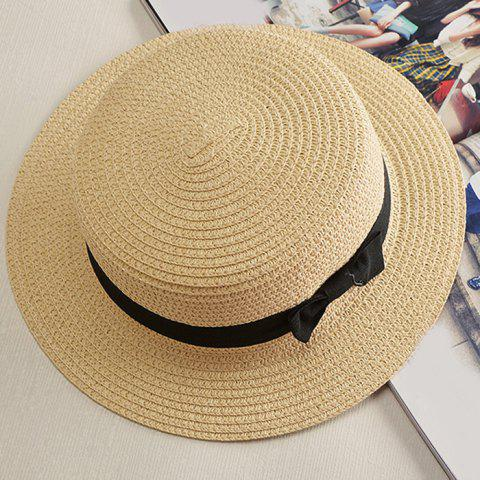 Affordable Chic Black Lace-Up Embellished Cool Summer Straw Hat For Women