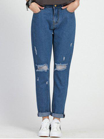New Plus Size High Waisted Distressed Jeans